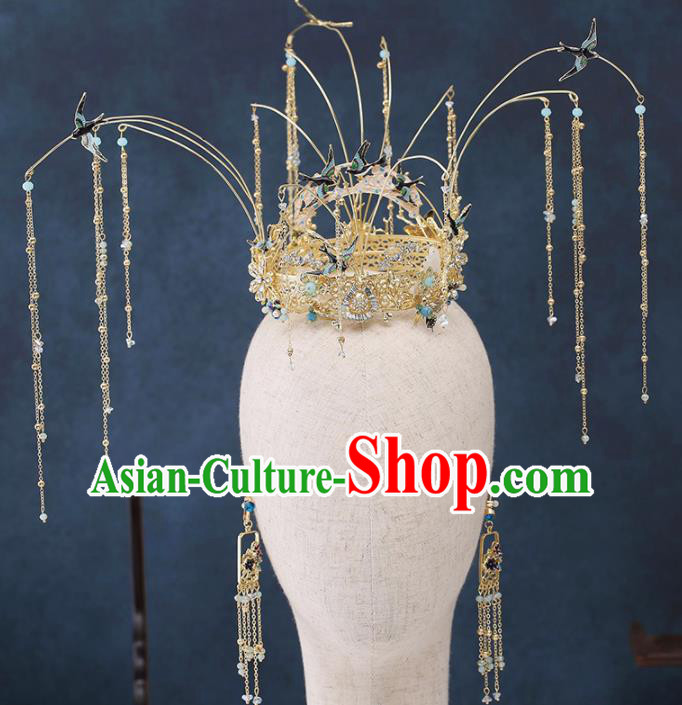 Traditional Chinese Wedding Handmade Tassel Phoenix Coronet Ancient Bride Hairpins Hair Accessories Complete Set