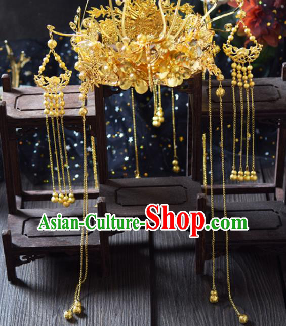 Traditional Chinese Handmade Golden Tassel Phoenix Coronet Ancient Wedding Bride Hairpins Hair Accessories for Women