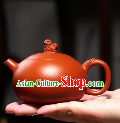 Traditional Chinese Handmade Carving Pi Xiu Zisha Teapot Dark Red Clay Pottery Teapot
