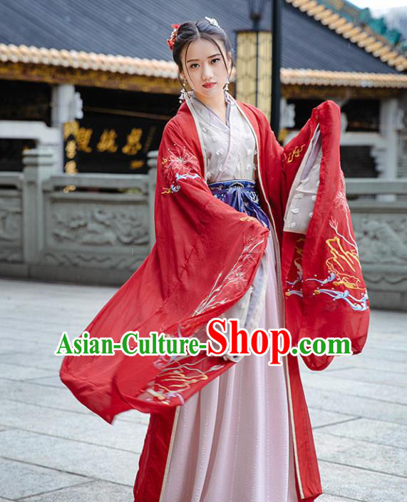 Traditional Chinese Han Dynasty Royal Princess Wedding Replica Costumes Ancient Imperial Concubine Red Hanfu Dress for Women