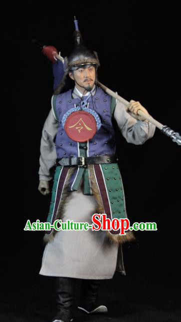 Chinese Ancient Soldier Clothing Traditional Ming Dynasty Herald Costumes and Hat Complete Set for Men