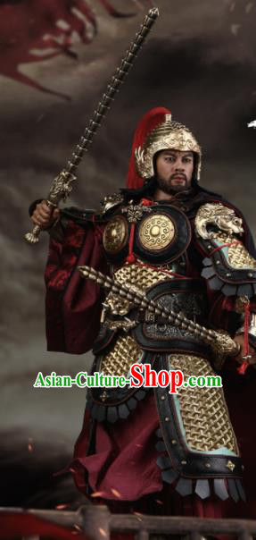 Chinese Ancient Cosplay General Armor and Helmet Traditional Tang Dynasty Yu Chi Jing De Costumes Complete Set for Men