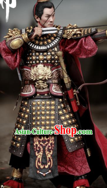 Chinese Ancient Cosplay General Armor and Helmet Traditional Three Kingdoms Dynasty Lv Bu Costumes Complete Set for Men