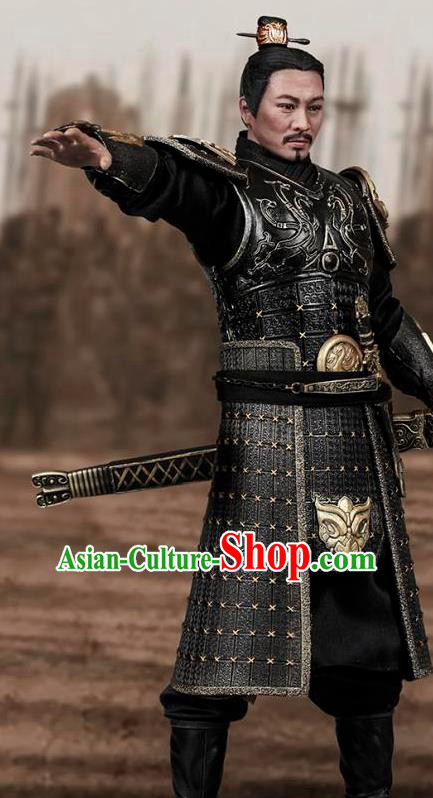 Chinese Ancient Cosplay General Armor and Helmet Traditional Qin Dynasty Supreme Commander Costumes Complete Set for Men