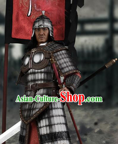 Chinese Ancient Cosplay General Armor and Helmet Traditional Tang Dynasty Supreme Commander Costumes Complete Set for Men