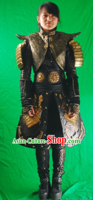 Chinese Ancient Cosplay Female General Armor and Helmet Traditional Han Dynasty Admiral Costumes Complete Set for Women