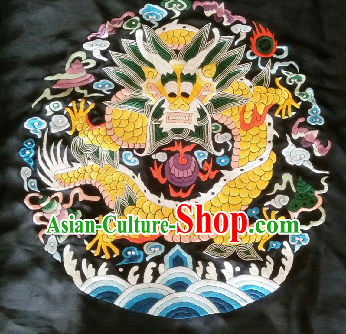 Traditional Qing Dynasty Style Officer Bu Zi Dragon Handmade Decoration Embroidery Arts