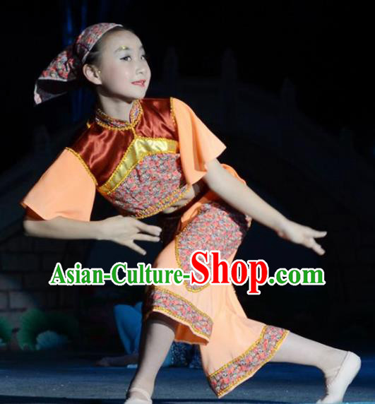 Traditional Chinese Tao Li Cup Folk Dance Costume Fan Dance Stage Show Dress for Women