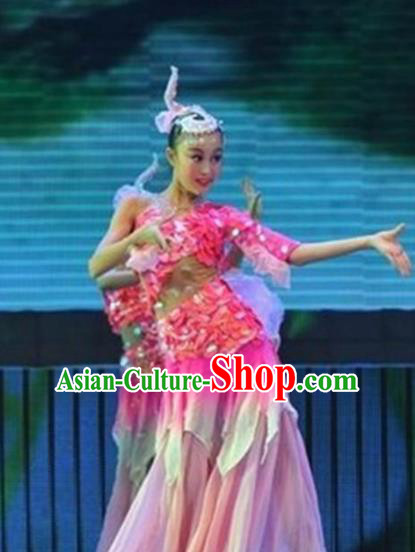 Traditional Chinese Folk Dance Fish Dance Costume Fan Dance Stage Show Pink Dress for Women