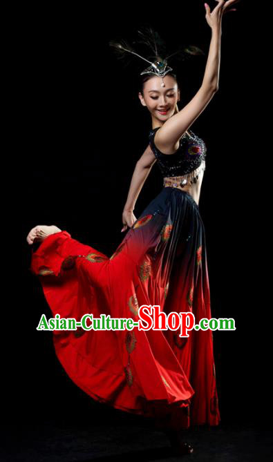 Traditional Chinese Dai Nationality Dance Red Dress Ethnic Peacock Dance Stage Show Costume for Women