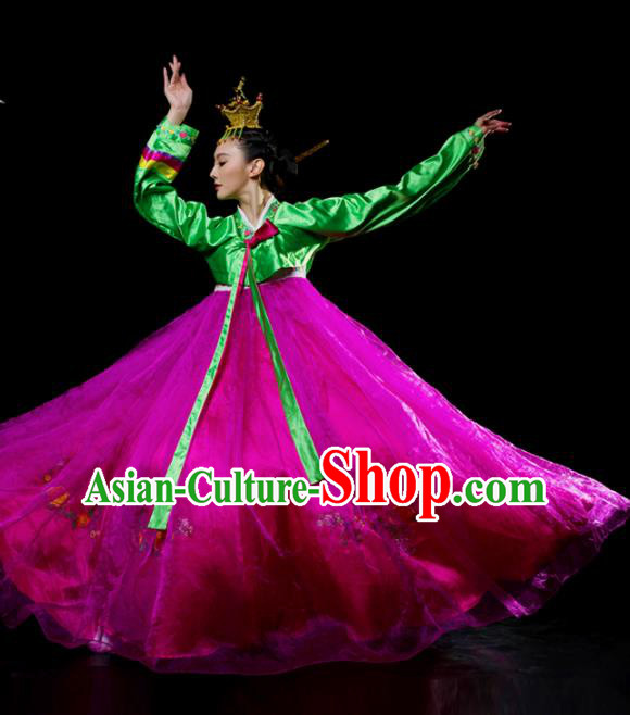 Traditional Chinese Korean Nationality Dance Rosy Dress Ethnic Dance Stage Show Costume for Women