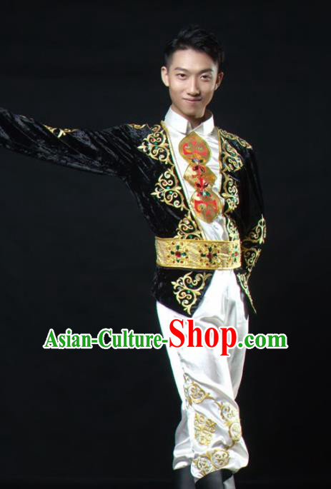 Chinese Traditional Uyghur Nationality Dance Costume Uigurian Ethnic Folk Dance Stage Show Clothing for Men