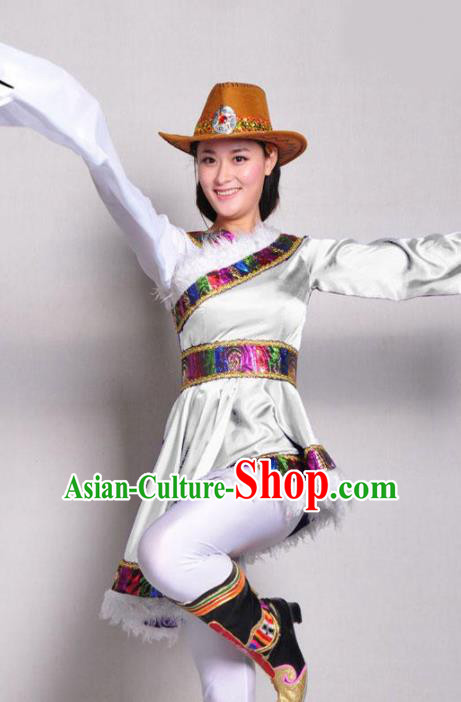 Traditional Chinese Zang Nationality White Costume Tibetan Ethnic Dance Stage Show Dress for Women