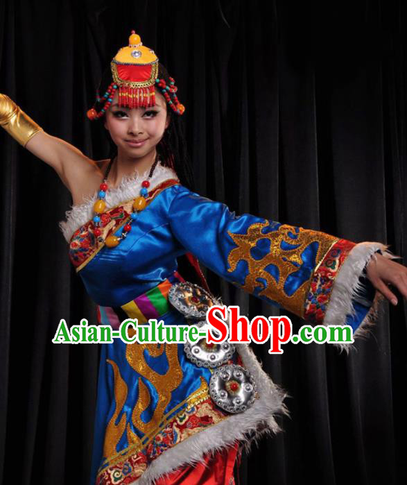Traditional Chinese Zang Nationality Royalblue Costume Tibetan Ethnic Dance Stage Show Dress for Women
