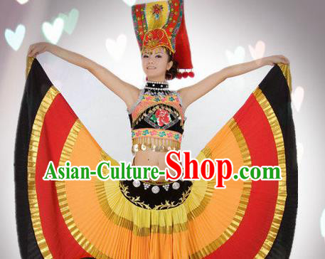 Traditional Chinese Yi Nationality Dance Costume Ethnic Dance Stage Show Dress for Women