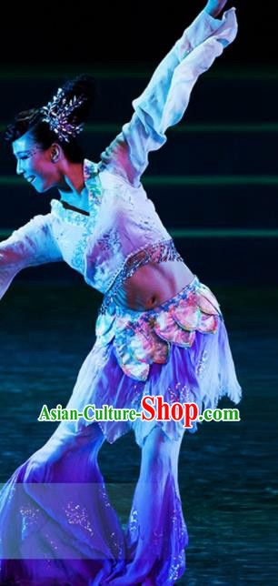 Traditional Chinese Classical Dance Lotus Dance Costumes Umbrella Dance Stage Show Dress for Women