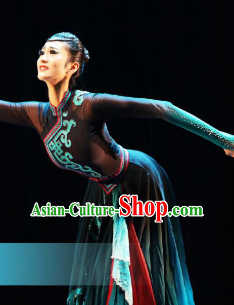 Traditional Chinese Mongol Nationality Dance Black Dress Ethnic Mongolian Stage Show Costume for Women