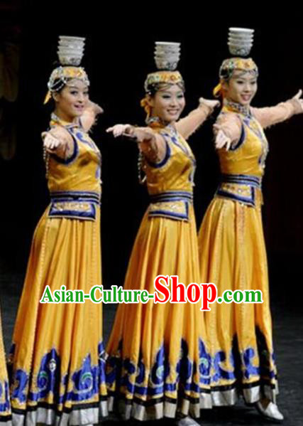 Traditional Chinese Mongol Nationality Bowl Dance Costume Ethnic Stage Show Yellow Dress for Women