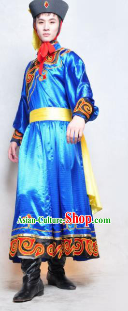 Chinese Traditional Mongolian Nationality Costume Mongol Ethnic Dance Stage Show Clothing for Men
