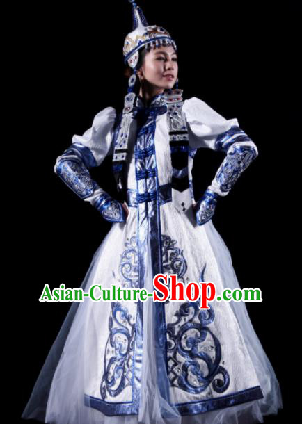 Traditional Chinese Mongol Nationality White Costume Mongolian Ethnic Dance Stage Show Dress for Women