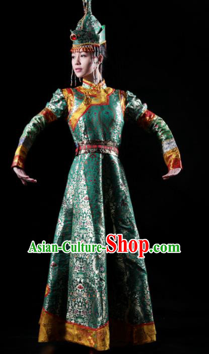 Traditional Chinese Mongolian Nationality Green Costume Mongol Ethnic Dance Stage Show Dress for Women