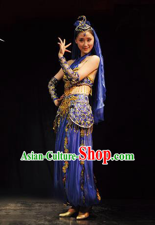 Traditional Chinese Uigurian Nationality Royalblue Costume Uyghur Ethnic Dance Stage Show Dress for Women