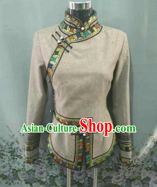 Traditional Chinese Mongol Nationality Blouse Mongolian Ethnic Dance Stage Show Costume for Women