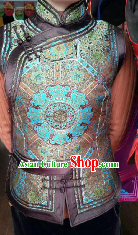 Traditional Chinese Mongol Nationality Brown Brocade Vest Mongolian Ethnic Stage Show Costume for Women
