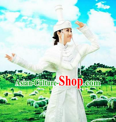 Traditional Chinese Mongol Nationality Wedding White Dress Mongolian Ethnic Dance Costume and Hat for Women