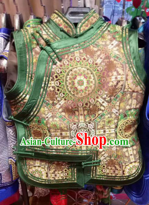 Traditional Chinese Mongol Nationality Deep Green Brocade Vest Mongolian Ethnic Stage Show Costume for Women