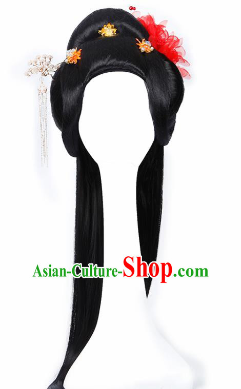 Chinese Traditional Tang Dynasty Imperial Consort Wigs and Hairpins Ancient Peri Princess Hair Accessories for Women