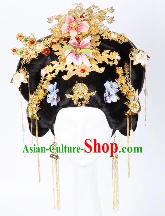 Chinese Traditional Tang Dynasty Queen Wigs and Hairpins Ancient Imperial Consort Hair Accessories for Women