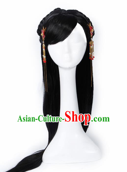 Chinese Traditional Han Dynasty Princess Wigs and Hairpins Ancient Goddess Hair Accessories for Women