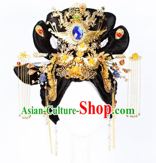 Chinese Traditional Tang Dynasty Court Queen Wigs and Hairpins Ancient Goddess Hair Accessories for Women