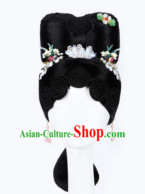 Chinese Traditional Qing Dynasty Princess Wigs and Hairpins Ancient Imperial Concubine Hair Accessories for Women