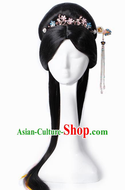 Chinese Traditional Tang Dynasty Court Princess Wigs and Hairpins Ancient Imperial Concubine Hair Accessories for Women