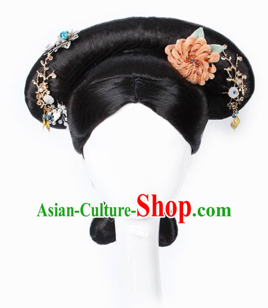 Chinese Traditional Qing Dynasty Manchu Princess Wigs and Hairpins Ancient Imperial Concubine Hair Accessories for Women