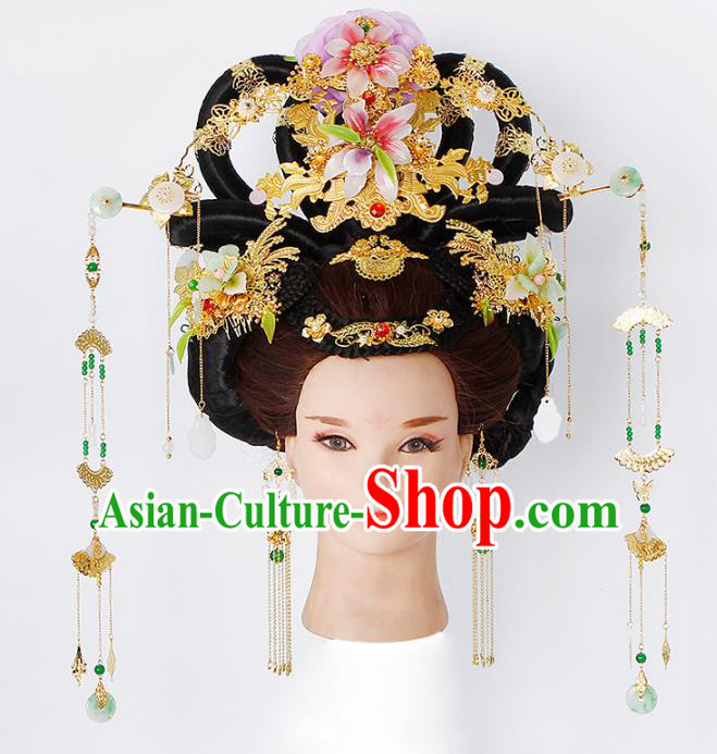 Chinese Traditional Tang Dynasty Empress Wigs and Hairpins Ancient Imperial Concubine Hair Accessories for Women