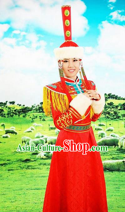 Traditional Chinese Mongol Nationality Red Dress and Hat Mongolian Ethnic Dance Costume for Women