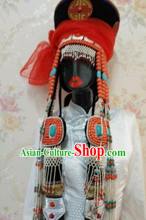 Traditional Chinese Mongol Nationality Hair Accessories Mongolian Ethnic Princess Hat for Women