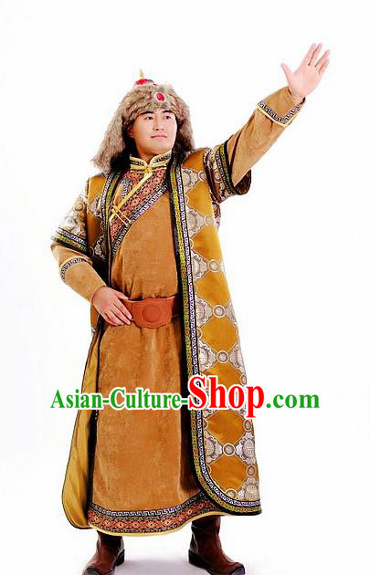 Chinese Traditional Mongol Nationality Khaki Costumes Mongolian Ethnic Prince Robe for Men
