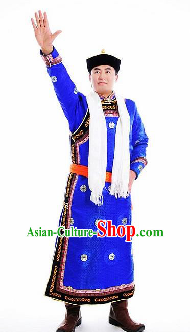 Chinese Traditional Mongol Nationality Costumes Mongolian Ethnic Prince Blue Robe for Men