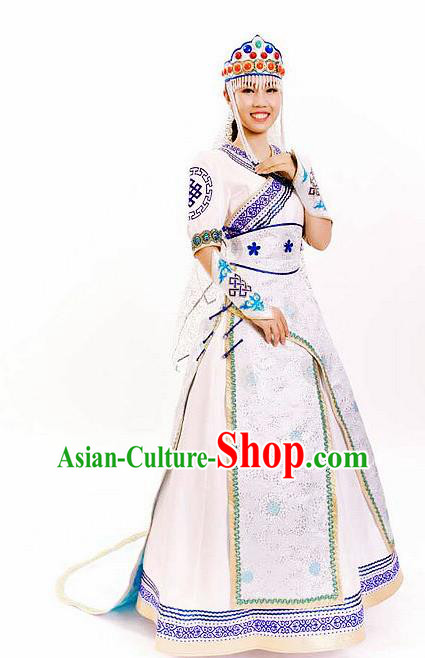 Traditional Chinese Mongol Nationality Wedding White Dress Mongolian Ethnic Dance Costume for Women