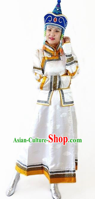 Traditional Chinese Mongol Nationality Dance White Dress Mongolian Ethnic Wedding Stage Show Costume for Women