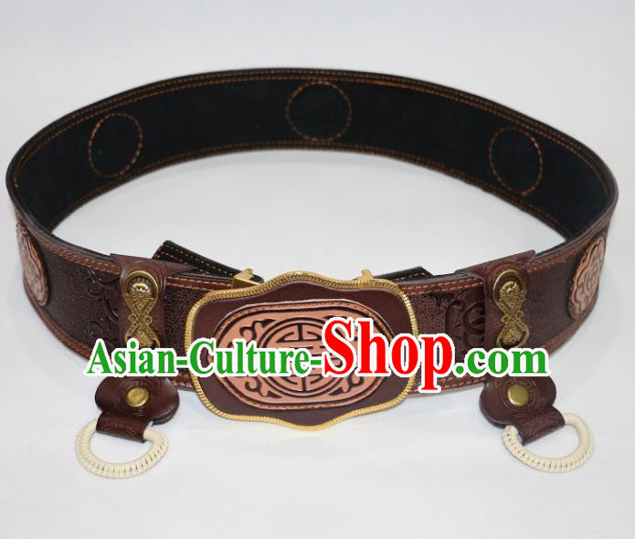 Traditional Chinese Mongol Nationality Male Brown Leather Belts Mongolian Ethnic Waistband for Men