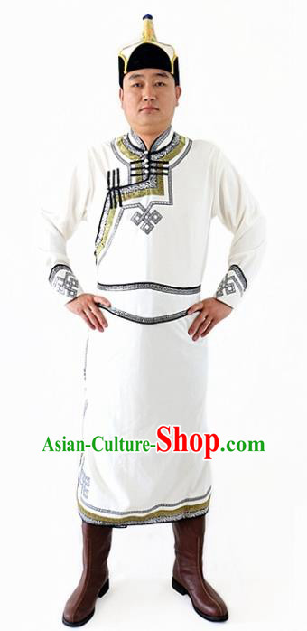 Chinese Traditional Mongol Nationality Costumes Ethnic Dance Stage Show White Mongolian Robe for Men