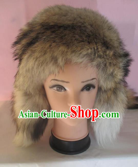 Traditional Chinese Mongol Nationality Winter Marten Headwear Mongolian Ethnic Blue Hat for Women