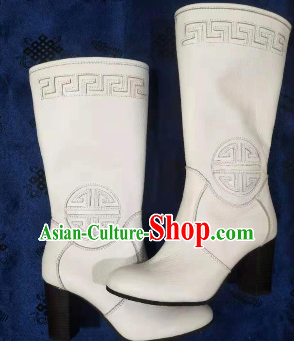 Chinese Traditional Mongol Nationality White Riding Boots Mongolian Ethnic Shoes High Heel Leather Boots for Women