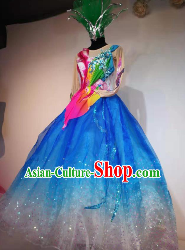 Traditional Chinese Spring Festival Gala Dance Blue Veil Dress Opening Dance Stage Show Costume for Women