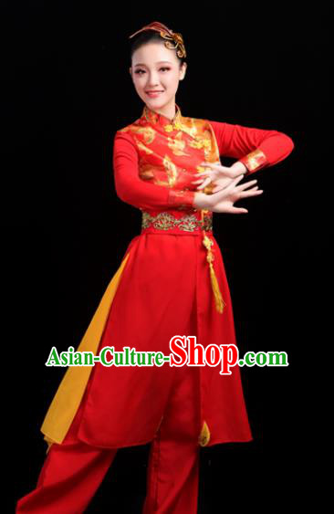 Chinese Traditional Folk Dance Red Outfits Drum Dance Classical Dance Yangko Costume for Women
